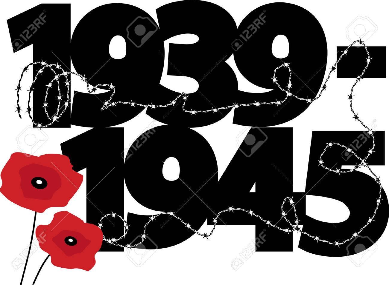 World War II commemorative symbol with calendar dates, poppies...