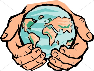Whole world in his hands clipart.