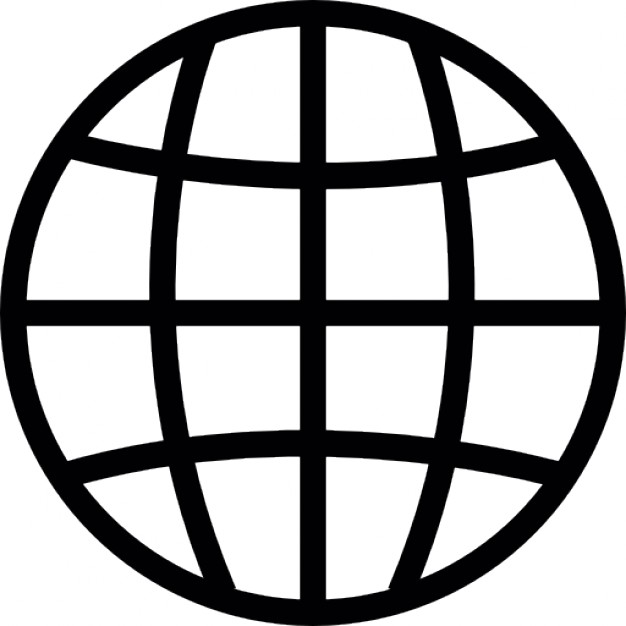 Globe grid silhouette with white details Icons.