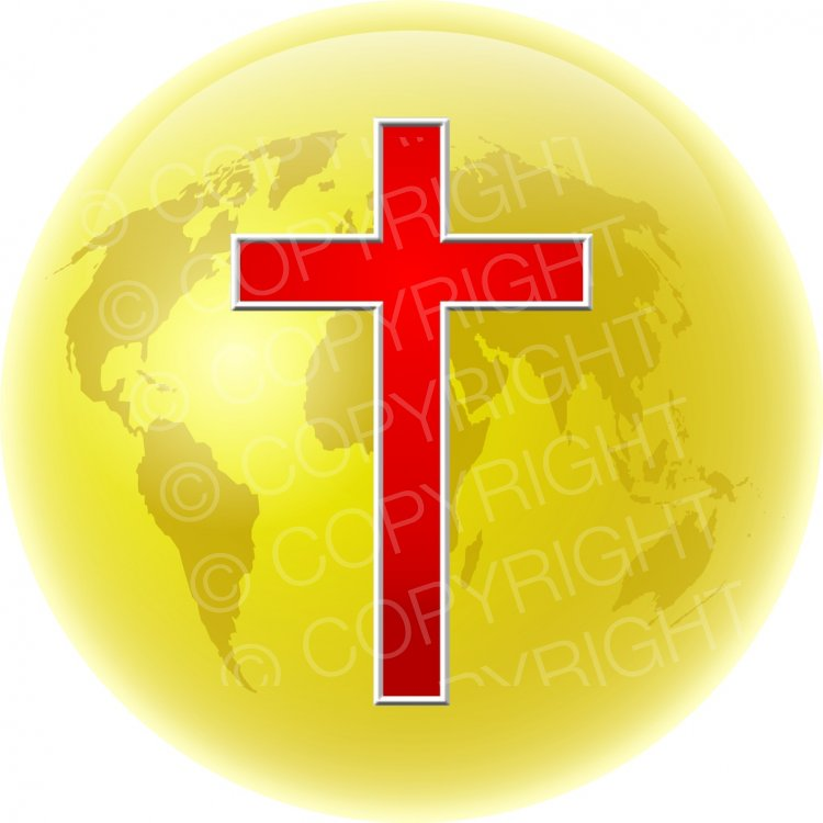 Christian Cross & World Clipart Illustration.