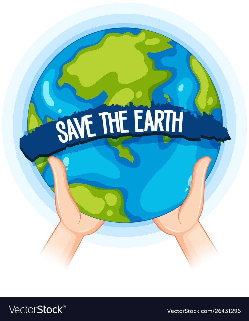 Hands holding up earth poster.