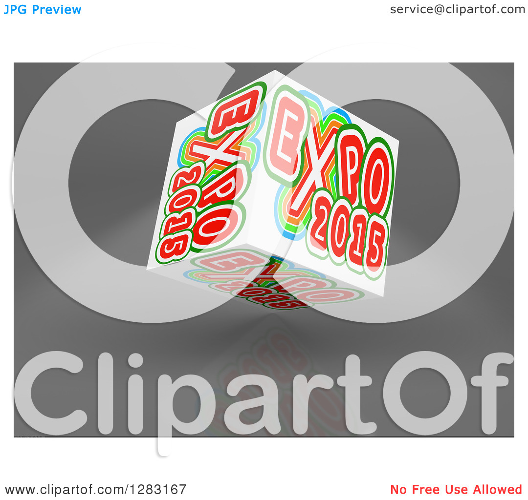 Clipart of a 3d Worlds Fair Expo 2015 Cube on a Reflective Gray.