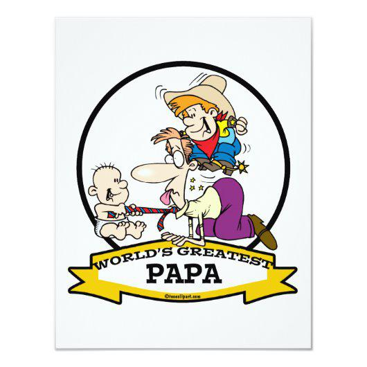 WORLDS GREATEST PAPA MEN CARTOON 4.25X5.5 PAPER INVITATION.
