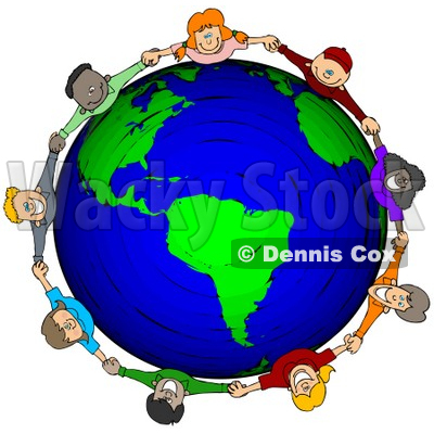 Free (RF) Clipart Illustration of a Circle Of Worldwide Children.