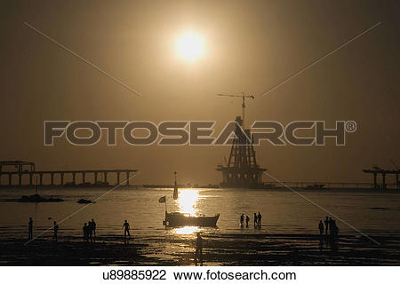 Stock Photo of Construction of Bandra Worli Sea Link u89885922.
