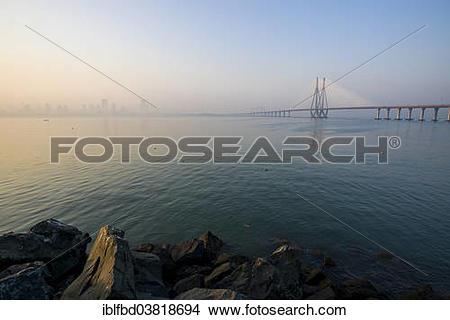 "Stock Photo of ""Bandra–Worli Sea Link, or Rajiv Gandhi Sea Link."
