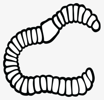 Free Worm Black And White Clip Art with No Background.