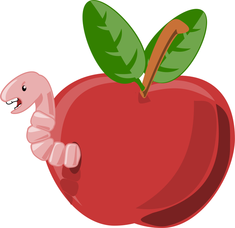 Free Clipart: Cartoon apple with worm.