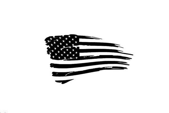 Tattered American Flag Black And White Clipart.