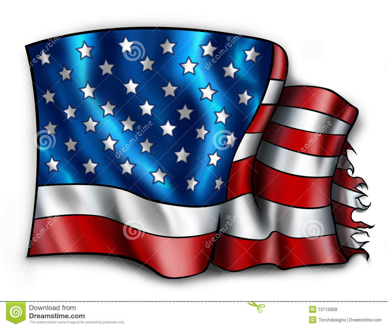 Tattered American Flag Royalty Free Stock Photos.