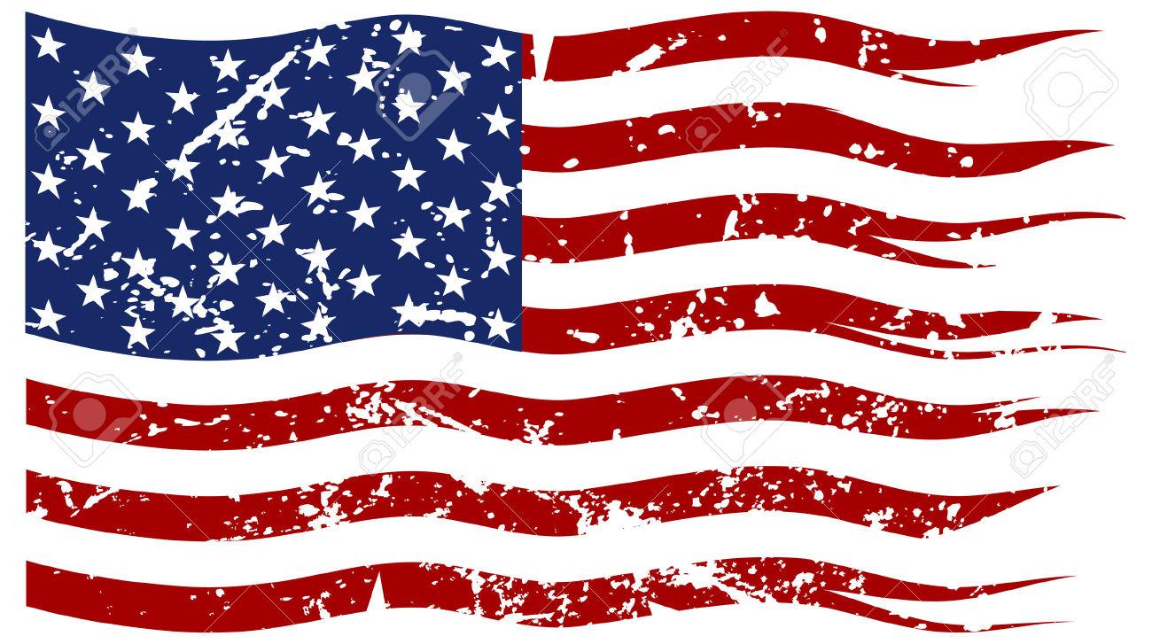 Torn American Flag.