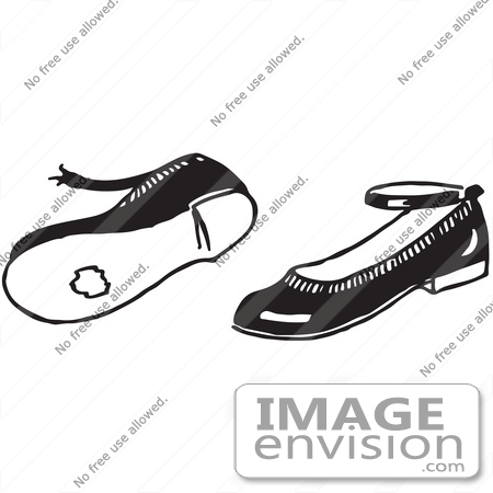 Clipart Of A Pair Of Worn Girl Shoes In Black And White.