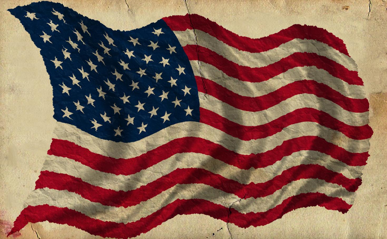Patriotic Old Worn Waving American Flag, Ragged Old Flag.