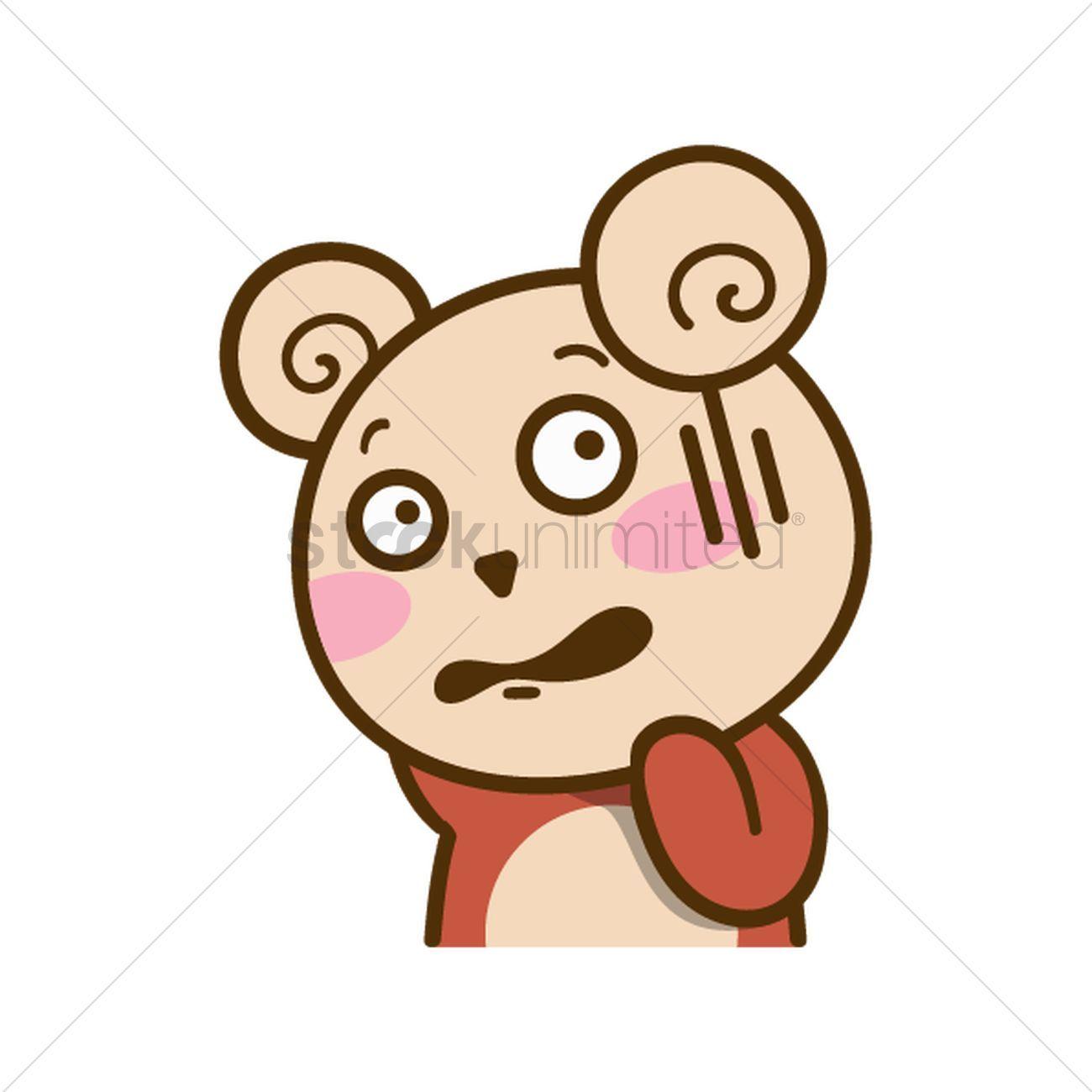 Cartoon bear feeling worried vectors, stock clipart.