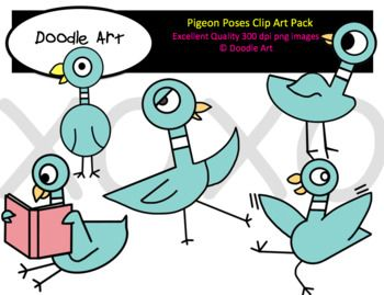 Pigeon Poses Clip Art Pack.