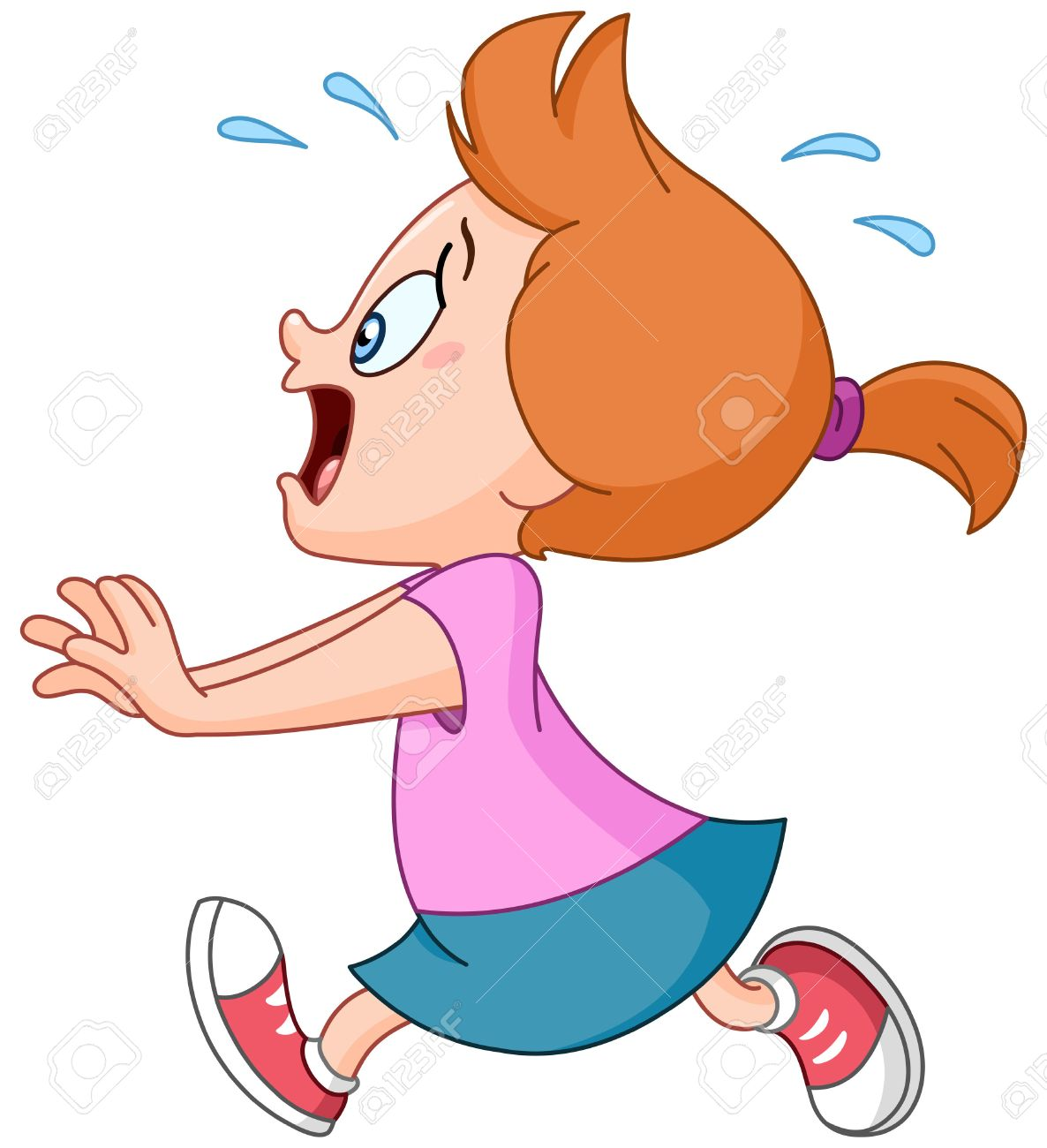 Scared and panicked young girl running.