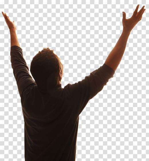 Man wearing brown dress shirt while raising his hands, Bible God.