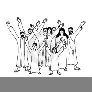 Black And White Worshipping Clipart.