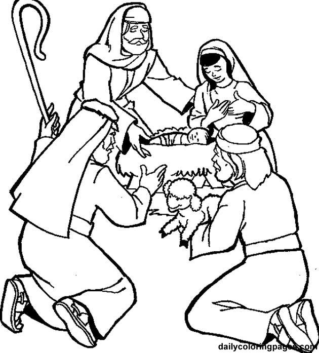 Shepherds worship baby jesus clipart.