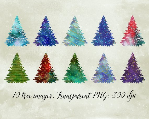 Christmas tree clipart, watercolor Christmas trees, glitter.