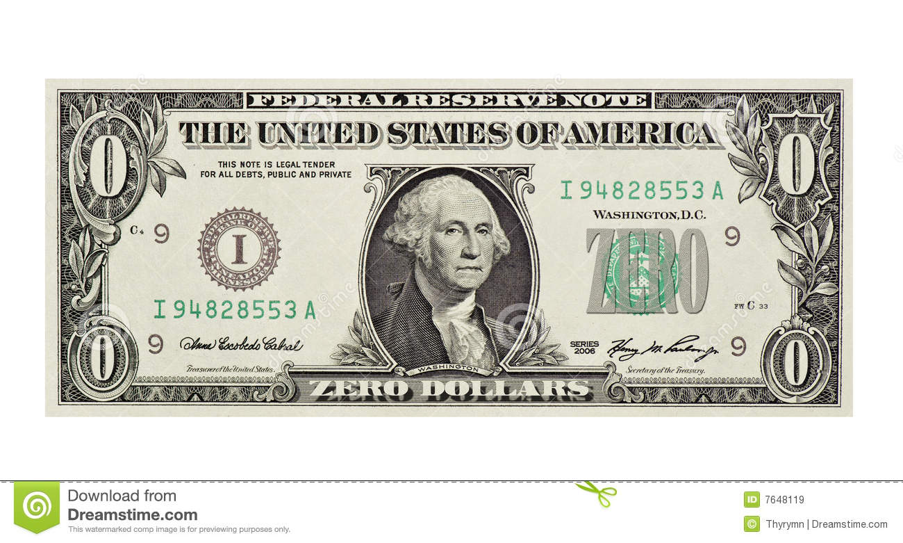 Worthless Dollar Bill Royalty Free Stock Images.