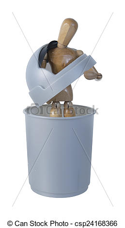 Stock Image of Person in Garbage Container feeling Worthless.