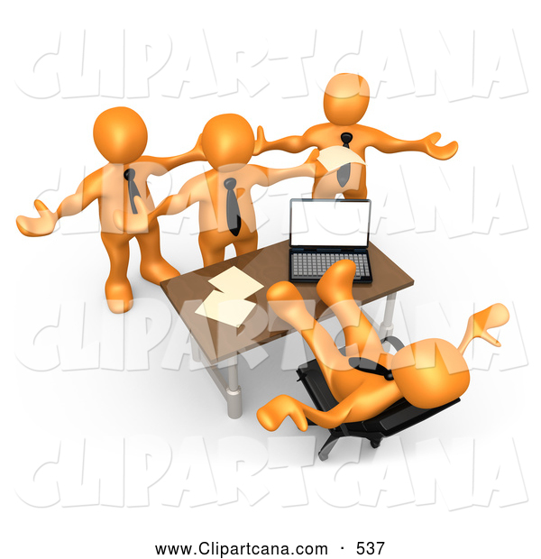 Clip Art of a Group of Angry Orange People Employees Complaining.