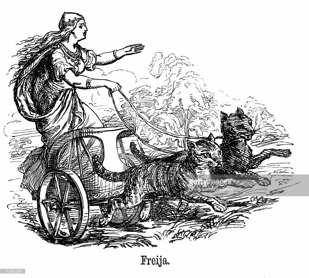 Freya or Frigg goddess of love in Scandinavian mythology, wife of.
