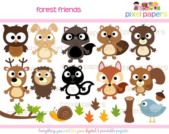 woodland clipart digital clip art owl hedgehog bird fox beaver.