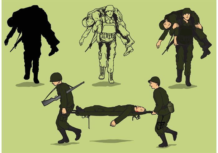 Showing post & media for Cartoon soldier carrying wounded soldier.
