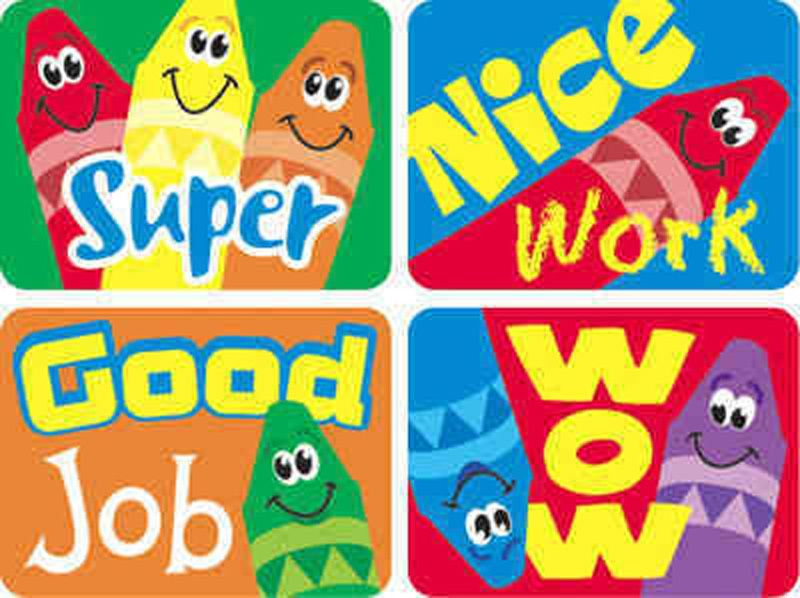 Details about 100 Large Good Job, Nice Work, Super, Wow Reward Stickers  Teacher/Parent Crayon.