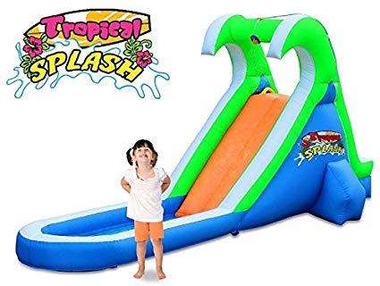 Blast Zone Tropical Splash Compact Backyard Water Slide.