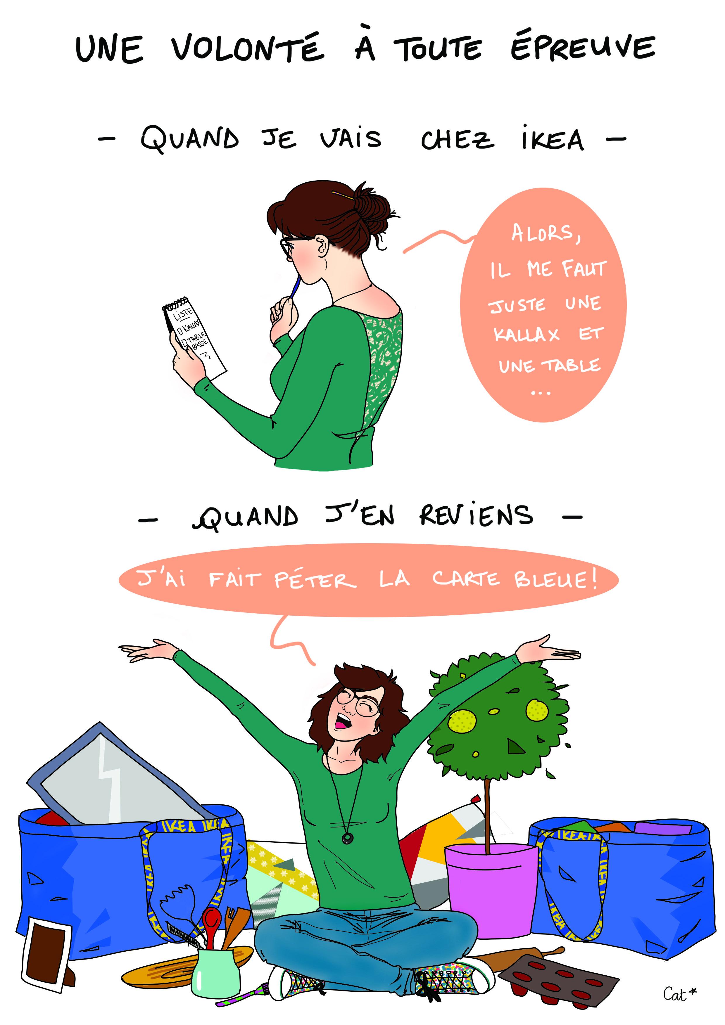 ikea, dessin, illustration, humour, volonté, achats, shopping.