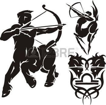 dessin tribal: Centaur avec un archet. Clipart tribal.