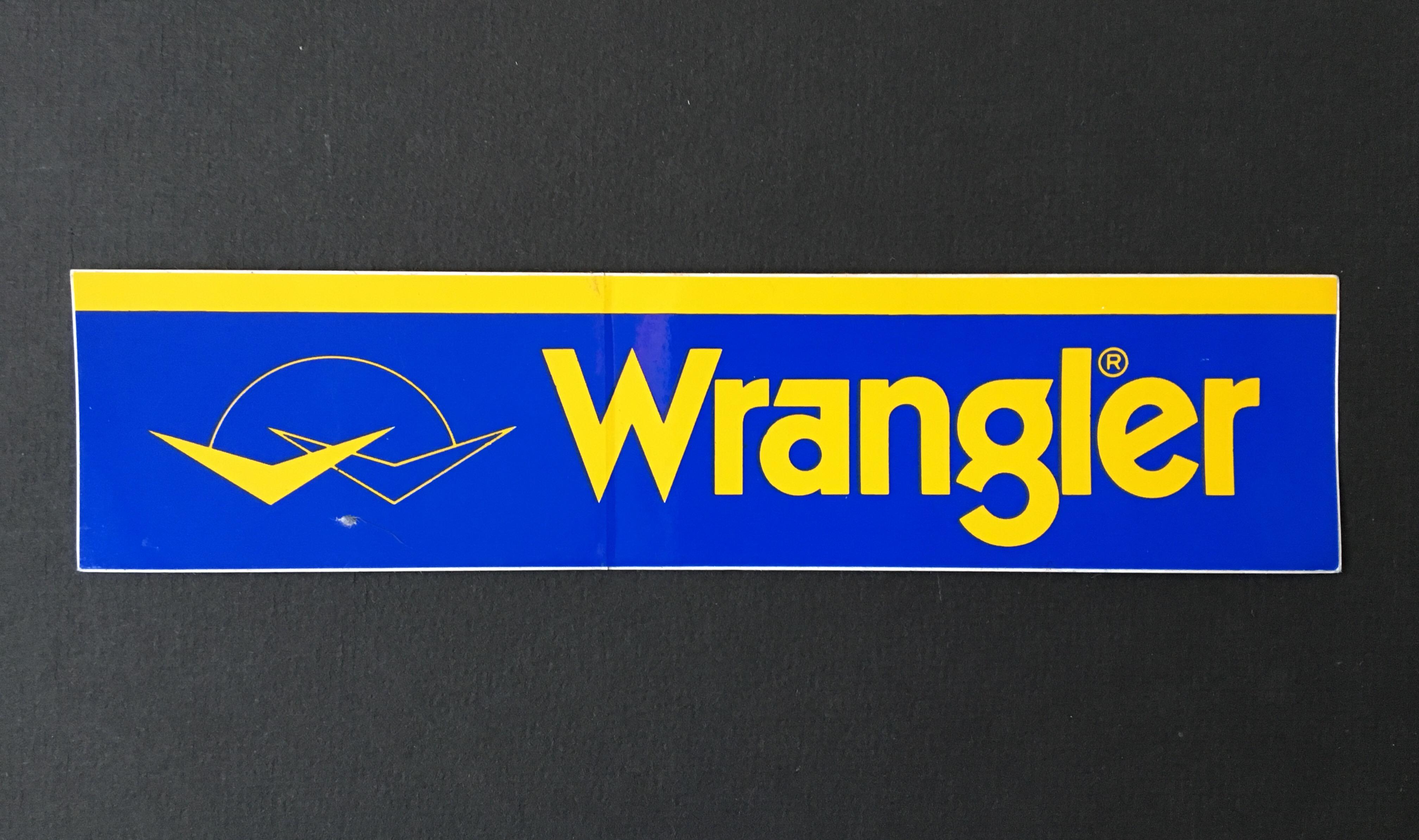 Wrangler (jeans) sticker.