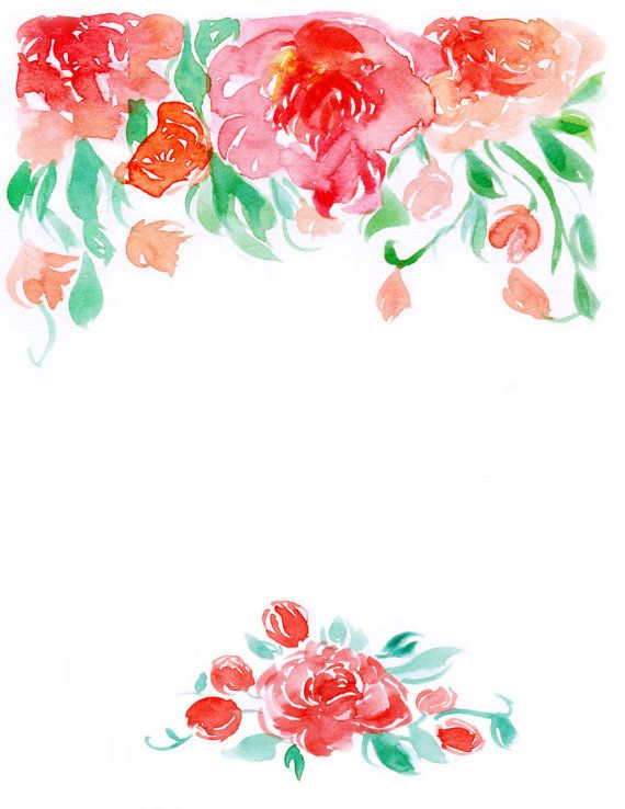 Downloadable watercolor floral border 2 by WaternColour on.