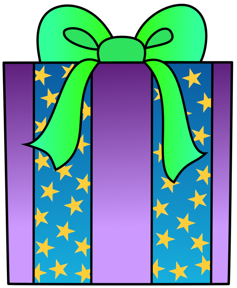 Wrapped present clipart kid.