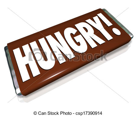 Clipart of Hungry Word Chocolate Candy Bar Wrapper Hunger.