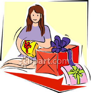 Clipart Picture of a Girl Wrapping Christmas Presents.