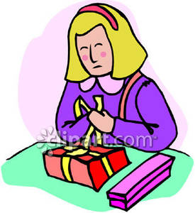 Girl wrapping present clipart.