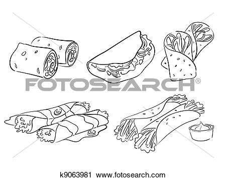 Clipart of taco and wraps k9063981.