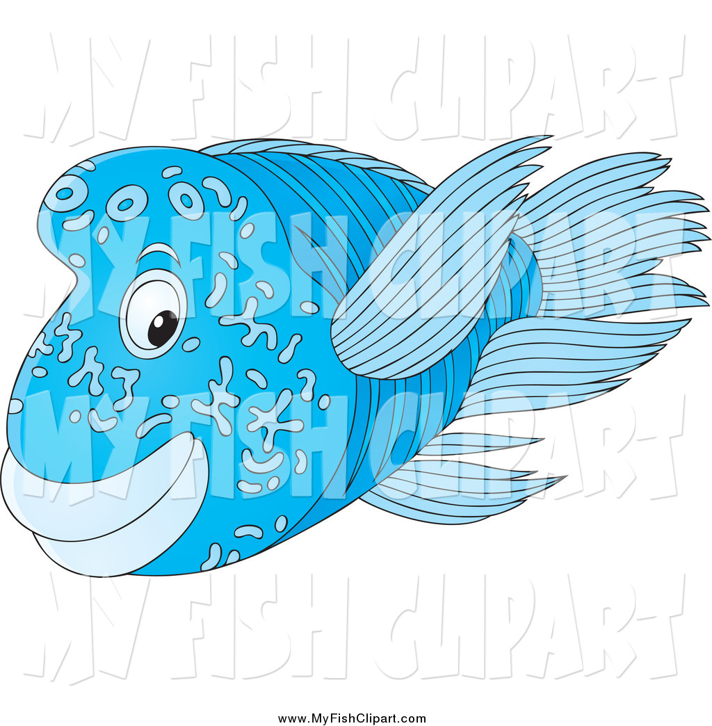 Clip Art of a Blue Napoleon Humphead Wrasse Marine Fish by Alex.