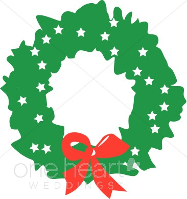 Green Wreath with White Stars and Red Bow Clipart.