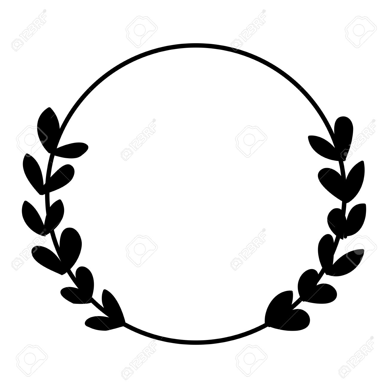 Laurel wreath black and white photo vector frame isolated on...