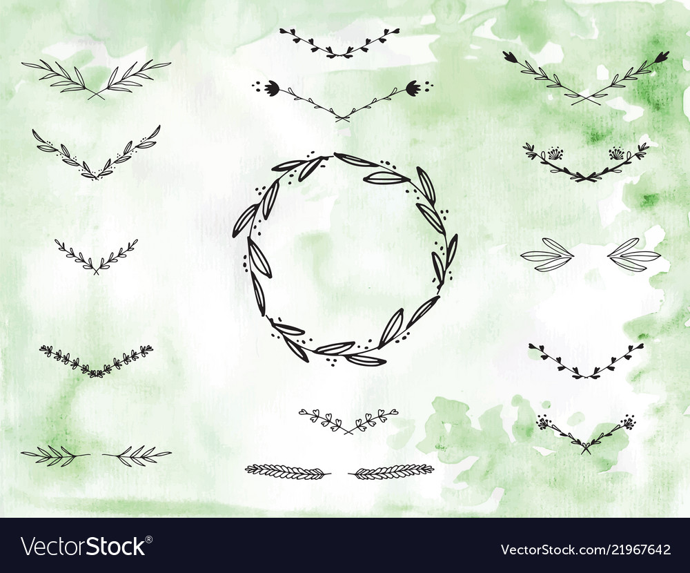 Handpainted branches wreath clip art.
