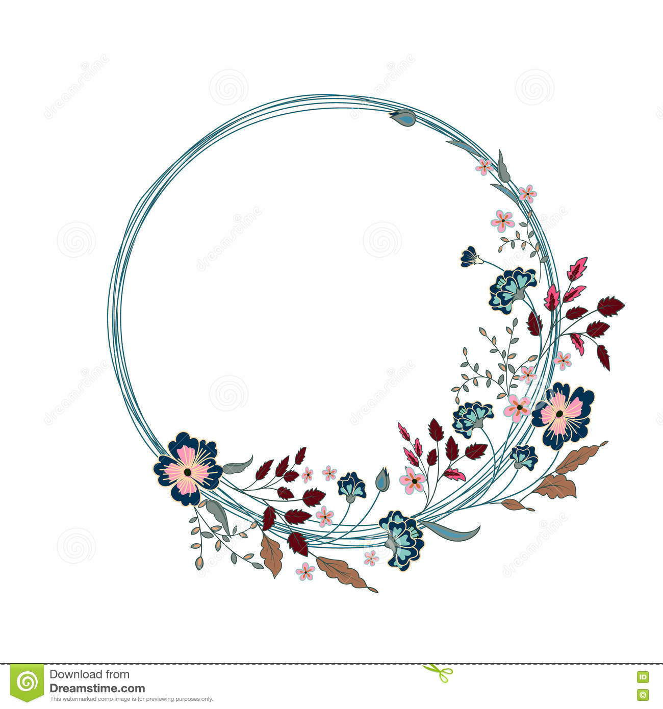 Floral Frame. Cute Flowers Arranged Un A Shape Of The Wreath Stock.