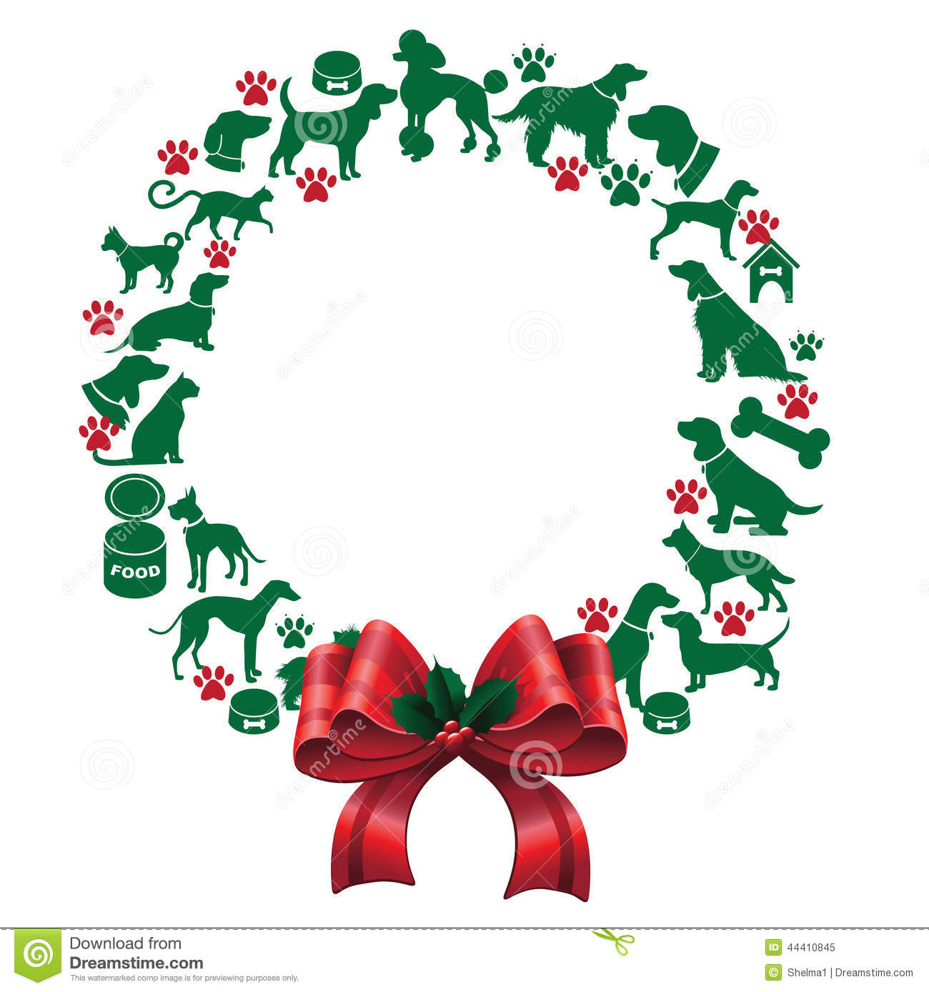 Cartoon Christmas Wreath Clipart.
