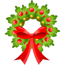 Cute Christmas Wreath Icon, PNG ClipArt Image.