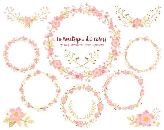 Pink and Gold Flower Wreath Clipart Cute Graphics PNG Laurel.