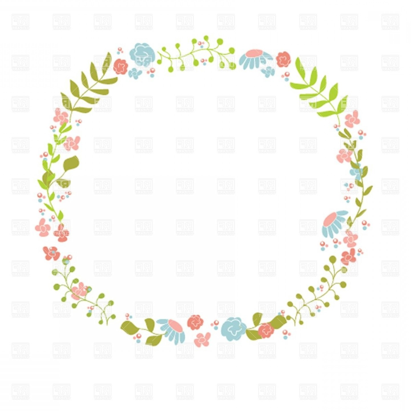 Top Cute Floral Wreath Vector Clipart Picture.